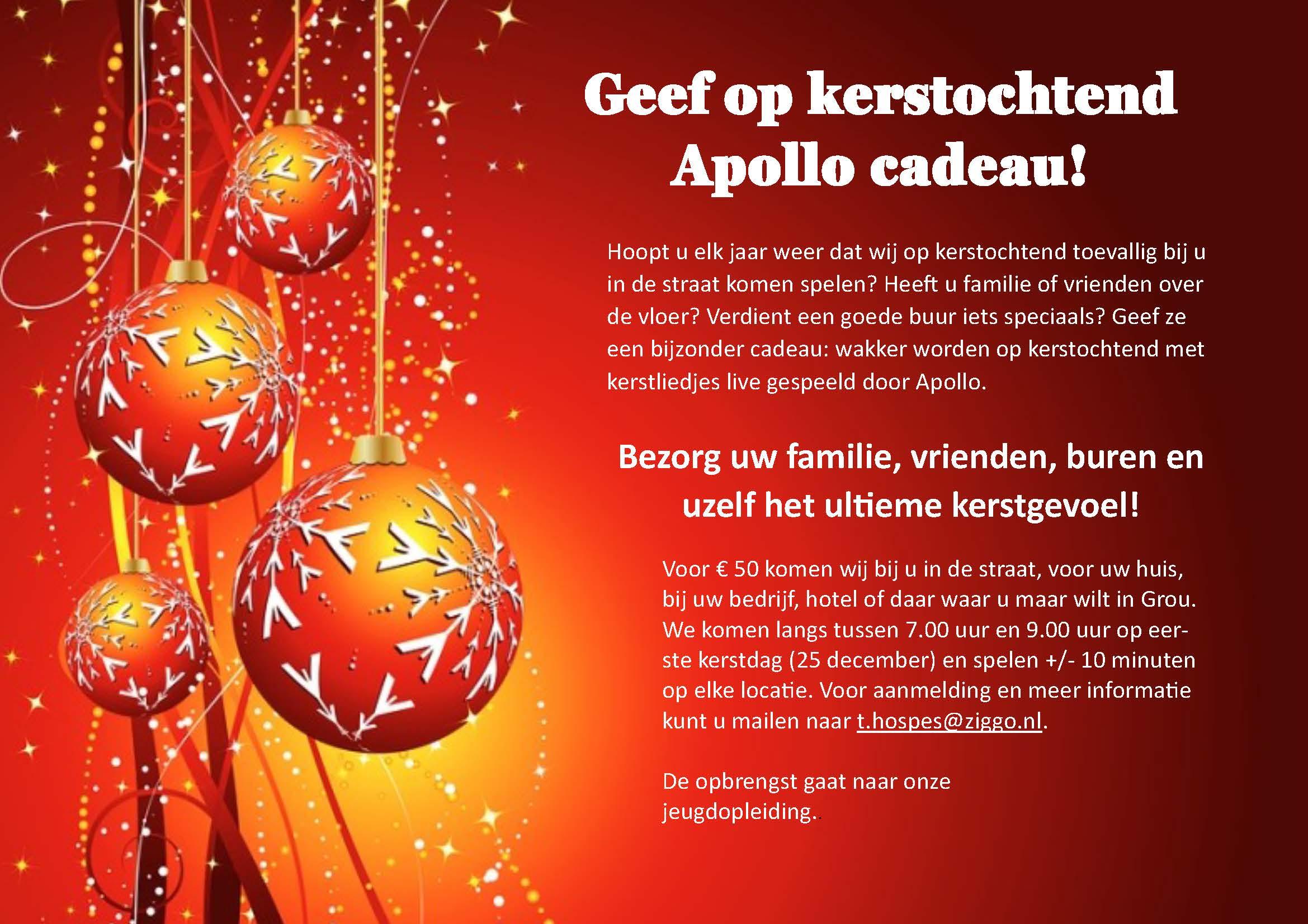 Geef op kerstochtend Apollo cadeau!